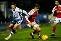 Fleetwood Town's Harrison Biggins vies for possession with Bury's Callum Styles<br /> <br /> Photographer Alex Dodd/CameraSport<br /> <br /> The EFL Checkatrade Trophy Group B - Bury v Fleetwood Town - Tuesday 13th November 2018 - Gigg Lane - Bury<br />  <br /> World Copyright &copy; 2018 CameraSport. All rights reserved. 43 Linden Ave. Countesthorpe. Leicester. England. LE8 5PG - Tel: +44 (0) 116 277 4147 - admin@camerasport.com - www.camerasport.com