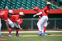 Emmanuel Rodriguez (13) celebrates with Moises Ramirez (8) and Christian Ortiz (15) after hitting a home run during the Dominican Prospect League Elite Underclass International Series, powered by Baseball Factory, on August 1, 2017 at Silver Cross Field in Joliet, Illinois.  (Mike Janes/Four Seam Images)