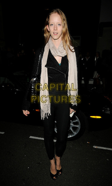 "MORWENNA LYTTON COBBOLD.Attending ""A Season In Hell"" Private View, Alison Jacques Gallery, London, England, UK, 13th October 2009..full length beige scarf black jacket peep toe shoes leggings bag .CAP/CAN.©Can Nguyen/Capital Pictures."