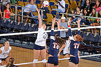 13 November 2010:  FIU's Sabrina Gonzalez (12) hits a kill shot in the second set as the FIU Golden Panthers defeated the South Alabama Jaguars, 3-0 (25-12, 25-12, 25-20), at U.S Century Bank Arena in Miami, Florida.