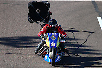 Feb 26, 2016; Chandler, AZ, USA; NHRA top fuel Harley motorcycle rider Tii Tharpe during qualifying for the Carquest Nationals at Wild Horse Pass Motorsports Park. Mandatory Credit: Mark J. Rebilas-