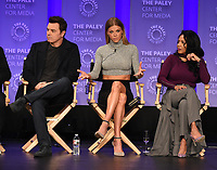 "HOLLYWOOD, CA - MARCH 17: Seth MacFarlane, Adrianne Palicki and Penny Johnson Jerald at the PaleyFest 2018 - ""The Orville"" panel at the Dolby Theatre on March 17, 2018 in Hollywood, California. (Photo by Scott Kirkland/Fox/PictureGroup)"