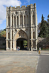Abbey Great Gate, Bury St Edmunds, Suffolk, England. Bury St Edmunds Abbey Great Gate is an impressive 14th century stone gatehouse of the Benedictine abbey and was designed to be the gateway for the Great Courtyard. One of the best surviving examples of its type, this two storey gate-hall is entered through a single archway which retains its portcullis.