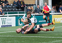 Harry Sloan of Ealing Trailfinders scores a try during the RFU Championship Cup match between Ealing Trailfinders and Ampthill RUFC at Castle Bar , West Ealing , England  on 28 September 2019. Photo by Alan  Stanford / PRiME Media Images