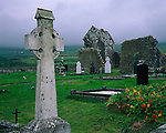 County Clare, Ireland<br /> Celtic crosses in a church yard in the village of Fanore