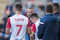 Mark Sampson, Caretaker Manager of Stevenage gives instruction during a natural break during Colchester United vs Stevenage, Sky Bet EFL League 2 Football at the JobServe Community Stadium on 5th October 2019