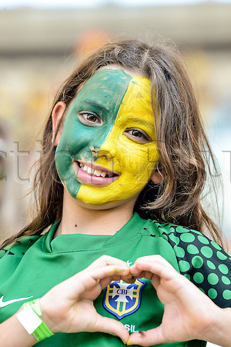 02.06.2013. Maracana Stadium, Rio de Janeiro, Brazil. Fans of Brazil. International football friendly and the official opening of the newly refurbished stadium. The score ended at 2-2.