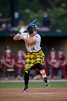 Savannah Bananas Bill Knight (4) bats during a Coastal Plain League game against the Macon Bacon on July 15, 2020 at Grayson Stadium in Savannah, Georgia.  Savannah wore kilts for their St. Patrick's Day in July promotion.  (Mike Janes/Four Seam Images)