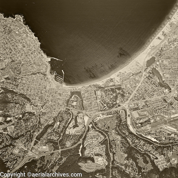 historical aerial photograph Monterey, California 1968