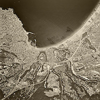 historical aerial photograph Monterey, California 1968