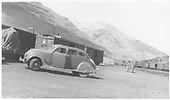 Chrysler Airflow in Sliverton yard.  Also a burro in the background.<br /> D&amp;RGW  Silverton, CO