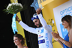 Fernando Gaviria (COL) Quick-Step Floors retains the young riders White Jersey on the podium at the end of Stage 2 of the 2018 Tour de France running 182.5km from Mouilleron-Saint-Germain to La Roche-sur-Yon, France. 8th July 2018. <br /> Picture: ASO/Pauline Ballet | Cyclefile<br /> All photos usage must carry mandatory copyright credit (&copy; Cyclefile | ASO/Pauline Ballet)