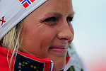 HOLMENKOLLEN, OSLO, NORWAY - March 17: Therese Johaug of Norway (NOR) gives an interview after winning the Ladies 30 km mass start race, free technique, at the FIS Cross Country World Cup on March 17, 2013 in Oslo, Norway. (Photo by Dirk Markgraf)