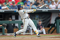 Michigan Wolverines outfielder Jordan Brewer (22) swings the bat against the Texas Tech Red Raiders during the first game of the NCAA College World Series on June 15, 2019 at TD Ameritrade Park in Omaha, Nebraska. Michigan defeated Texas Tech 5-3. (Andrew Woolley/Four Seam Images)