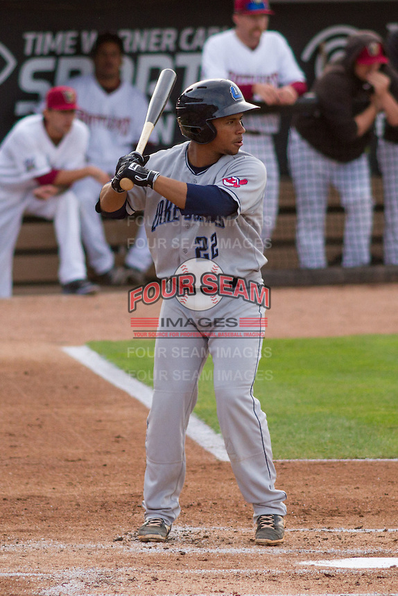 Lake County Captains catcher Francisco Mejia (22) at bat during a Midwest League game against the Wisconsin Timber Rattlers on June 3rd, 2015 at Fox Cities Stadium in Appleton, Wisconsin. Wisconsin defeated Lake County 3-2. (Brad Krause/Four Seam Images)