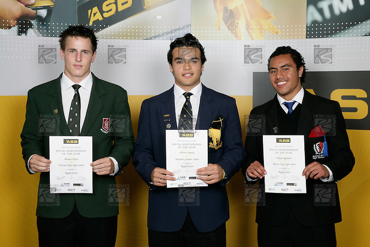Rugby Union Boys Finalists. ASB College Sport Young Sportsperson of the Year Awards 2006, held at Eden Park on Thursday 16th of November 2006.<br />