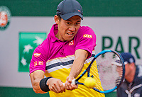 Paris, France, 3 june, 2019, Tennis, French Open, Roland Garros, Kei Nishikori (JPN)<br /> Photo: Henk Koster/tennisimages.com