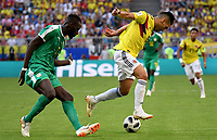 SAMARA - RUSIA, 28-06-2018: Salif SANE (Izq) jugador de Senegal disputa el balón con Radamel FALCAO GARCIA (Der) jugador de Colombia durante partido de la primera fase, Grupo H, por la Copa Mundial de la FIFA Rusia 2018 jugado en el estadio Samara Arena en Samara, Rusia. / Salif SANE (L) player of Senegal fights the ball with Radamel FALCAO GARCIA (R) player of Colombia during match of the first phase, Group H, for the FIFA World Cup Russia 2018 played at Samara Arena stadium in Samara, Russia. Photo: VizzorImage / Julian Medina / Cont