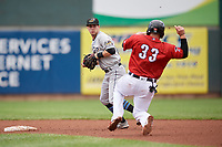 Akron RubberDucks shortstop Ernie Clement (6) throws to first base as Kade Scivicque (33) slides into second base during an Eastern League game against the Erie SeaWolves on June 2, 2019 at UPMC Park in Erie, Pennsylvania.  Akron defeated Erie 7-2 in the first game of a doubleheader.  (Mike Janes/Four Seam Images)