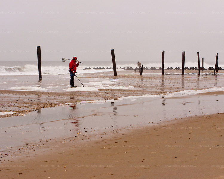 The beach at Rehoboth Beach, Delaware, USA, is haunted by treasure hunters in the wake of a major nor'easter in November, 2009.