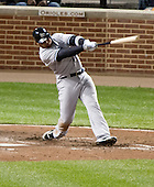 New York Yankees left fielder Andruw Jones (22) connects for a home run in the sixth inning against the Baltimore Orioles at Oriole Park at Camden Yards in Baltimore, MD on Monday, April 9, 2012.  The Yankees won the game  6 - 2..Credit: Ron Sachs / CNP.(RESTRICTION: NO New York or New Jersey Newspapers or newspapers within a 75 mile radius of New York City)