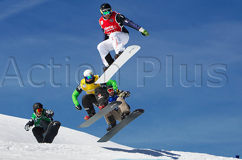 21.03.2013. Sierra Nevada, Spain.  Snowboarding FIS World Cup SBX for men Sierra Nevada Spain. Picture shows Jonathan Cheever USA Paul Mountain ger Jake Holden CAN and Markus Schairer AUT d