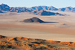 Namibia, Namib Desert, Namibrand Nature Reserve, aerial of eastern part of Namib Desert
