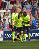 08/08/2015 Sky Bet League 1 Fleetwood Town v Southend United<br /> Myles Weston congratulates Southend goalscorer David Worrall