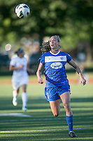 In a National Women's Soccer League Elite (NWSL) match, the Boston Breakers defeated the FC Kansas City, 1-0, at Dilboy Stadium on August 10, 2013.  Boston Breakers defender Julie King (8).
