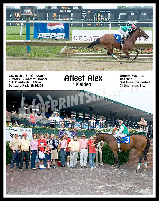 Afleet Alex wins his first time out at Delaware Park on 6/26/04
