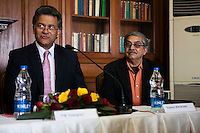 Nik Senapati (Rio Tinto Managing Director) speaks as Yunus Khimani (of the Jaipur Palace) (right) listens during a press conference on Oz Fest in Raj Mahal Palace hotel, Jaipur, India on 10th January 2013. Photo by Suzanne Lee/DFAT