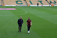 Aston Villa's Head Coach Dean Smith and Jack Grealish of Aston Villa laughs before the game. <br /> Norwich City vs Aston Villa, Premier League Football at Carrow Road on 5th October 2019