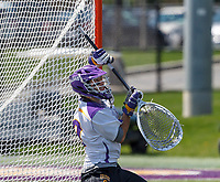 JD Colarusso (#9) sets up to make a save as UAlbany Lacrosse defeats Vermont 14-4  in the American East Conference Championship game at Casey Stadium, May 5.