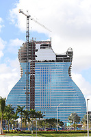 HOLLYWOOD FL - FEBRUARY 10: The Seminole Hard Rock Hotel & Casino Hollywood's new guitar-shaped hotel tower nears completion. It is set to open in fall 2019 at the Seminole Hard Rock Hotel & Casino on February 10, 2019 in Hollywood, Florida. Credit: mpi04/MediaPunch