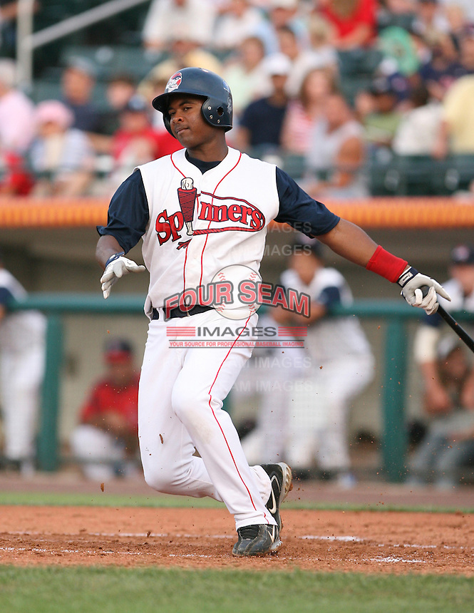 Yamaico Navarro of the Lowell Spinners, Class-A affiliate of the Boston Red Sox, during the New York-Penn League season.  Photo by:  Mike Janes/Four Seam Images
