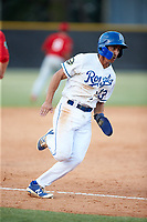 Colby Schultz (13) of the Burlington Royals hustles towards home plate against the Johnson City Cardinals at Burlington Athletic Stadium on July 15, 2018 in Burlington, North Carolina. The Cardinals defeated the Royals 7-6.  (Brian Westerholt/Four Seam Images)