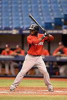 Boston Red Sox second baseman Luis Alejandro Basabe (16) during an Instructional League game against the Tampa Bay Rays on September 25, 2014 at Tropicana Field in St. Petersburg, Florida.  (Mike Janes/Four Seam Images)
