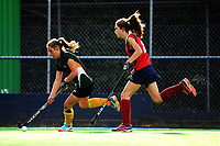 Action from the 2017 Jenny Hair Cup girls hockey match between Wanganui High School (green and yellow) and Maclean's College (red) at Hockey Manawatu Twin Turfs in Palmerston North, New Zealand on Wednesday, 6 September 2017. Photo: Dave Lintott / lintottphoto.co.nz
