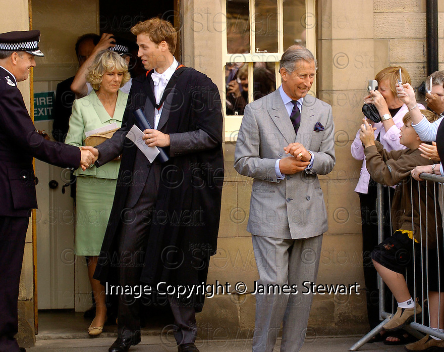 23/06/2005         Copyright Pic : James Stewart.File Name : sct_jspa09 wills graduation.PRINCE WILLIAM, CAMILLA AND PRINCE CHARLES LEAVE ST ANDREWS POLICE STATION AFTER HIS GRADUATION FROM ST ANDREWS UNIVERSITY......Payments to :.James Stewart Photo Agency 19 Carronlea Drive, Falkirk. FK2 8DN      Vat Reg No. 607 6932 25.Office     : +44 (0)1324 570906     .Mobile   : +44 (0)7721 416997.Fax         : +44 (0)1324 570906.E-mail  :  jim@jspa.co.uk.If you require further information then contact Jim Stewart on any of the numbers above.........