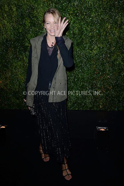 WWW.ACEPIXS.COM<br /> April 20, 2015 New York City<br /> <br /> <br /> Uma Thurman attending the 2015 Tribeca Film Festival CHANEL Artists Dinner at Balthazer on April 20, 2015 in New York City.<br /> <br /> Please byline: Kristin Callahan/AcePictures<br /> <br /> ACEPIXS.COM<br /> <br /> Tel: (646) 769 0430<br /> e-mail: info@acepixs.com<br /> web: http://www.acepixs.com
