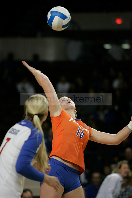 Florida's outside hitter Colleen Ward hits the ball during the UK volleyball game against Florida at Memorial Coliseum on Sunday, Nov. 22, 2009. No. 10 UK lost to No. 13 Florida (3-1). Photo by Adam Wolffbrandt | Staff