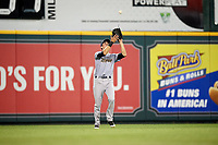 Trenton Thunder left fielder Ben Ruta (16) makes a catch during a game against the Richmond Flying Squirrels on May 11, 2018 at The Diamond in Richmond, Virginia.  Richmond defeated Trenton 6-1.  (Mike Janes/Four Seam Images)