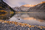 Early morning alpenglow on Laurel Mountain above Convict Lake in the fall, Inyo National Forest, California