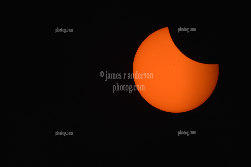Solar Eclipse 2017 Prenumbera with a Solar ND Filter. Farewell Bend State Recreation Area Oregon on the Snake River on the 21st August