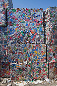 Stacks of Aluminum cans. Recycling Center, Los Angeles, California, USA