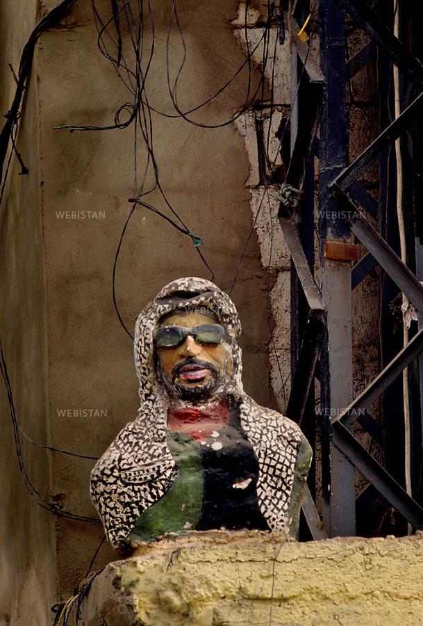 1983. Suez Canal. Portrait of Yasser Arafat (1929-2004), chairman of the PLO, during the Lebanese War (1975-1990), on board of the Odysseus Elytis boat, during his evacuation by the international community. Canal de Suez. Portrait de Yasser Arafat (1929-2004), le chef de l'OLP, pendant la Guerre du Liban (1975-1990), à bord du bateau Odysseus Elytis, lors de son évacuation par la communauté internationale.