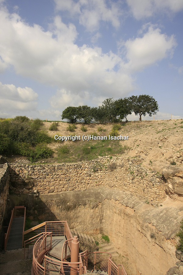 Israel, Upper Galilee. The Israelite water system in Tel Hazor built during the reign of King Ahab (9th century B.C.)
