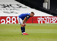 4th July 2020; Craven Cottage, London, England; English Championship Football, Fulham versus Birmingham City; A disappointed Gary Gardner of Birmingham City bending down in exhaustion after the final whistle