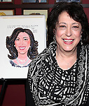 Lynne Meadow, Manhattan Theatre Club's Artistic Director, receiving a Sardi's Caricature in.honor of her 40th anniversary with MTC on 10/24/2012