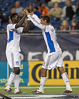 San Jose Earthquakes forward Chris Wondolowski (8) celebrates his goal with San Jose Earthquakes midfielder Simon Dawkins (10). In a Major League Soccer (MLS) match, the San Jose Earthquakes defeated the New England Revolution, 2-1, at Gillette Stadium on October 8, 2011.